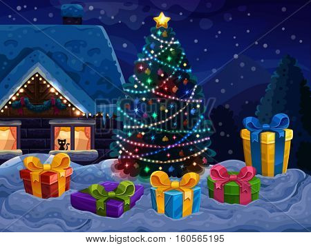 Christmas background with Christmas tree and gifts.. Vector illustration