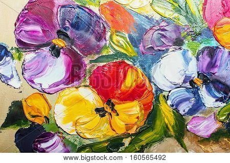Texture Oil Painting Flowers, Painting Vivid Flowers,