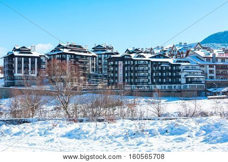 Bansko, Bulgaria - November 30, 2016: Hotels and street view in winter in bulgarian ski resort Bansko