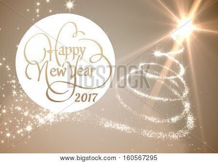 Happy new year 2017 wishes on digitally generated background