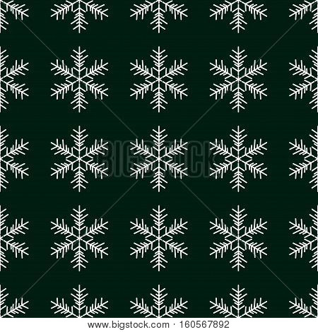 Seamless pattern with snowflakes on green background. Vector Illustration