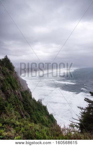 Oregon coast from a Pacific Coast Highway lookout on a cloudy blustery day