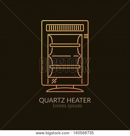 House Heating Single Logo. Illustration of Quartz Heater made in trendy line style vector. Clean and Simple modern emblem for shop product or company. Perfect for your business.