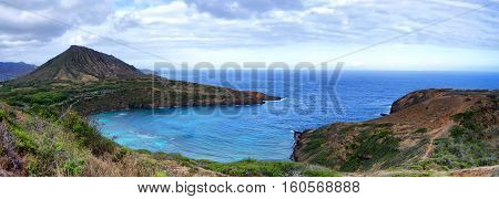 Hanauma Bay as seen from a trail behind the bay on the south shore of Oahu, Hawaii