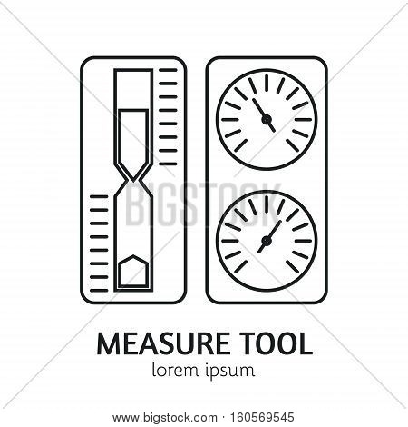 Unique Line Style Vector Logotype Template with Sand Watch, Thermometer and Hygrometer . Clean and minimalist symbol perfect for your business. Sauna accessories concept.