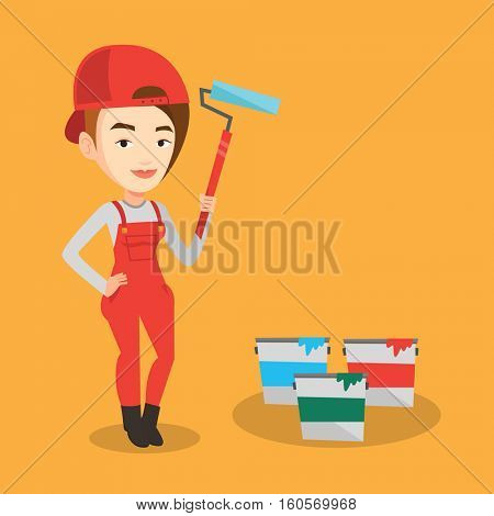 Caucasian female painter in uniform holding paint roller in hands. Young cheerful house painter at work. Smiling female painter standing near paint cans. Vector flat design illustration. Square layout