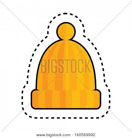 Orange Hat with Pom Pom Isolated on White Background. Vector Illustration. Textile Patch.