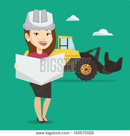 Engineer watching a blueprint at construction site. Engineer with blueprint standing on the background of excavator. Engineer holding blueprint. Vector flat design illustration. Square layout