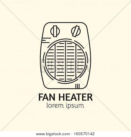 House Heating Single Logo. Illustration of Fan Heater made in trendy line style vector. Clean and Simple modern emblem for shop product or company. Perfect for your business.
