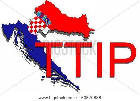 Ttip - Transatlantic Trade And Investment Partnership On Croatia Map
