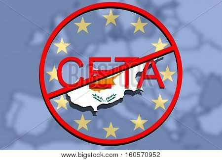 Anty Ceta - Comprehensive Economic And Trade Agreement On Euro Union Backgound, Cyprus Map