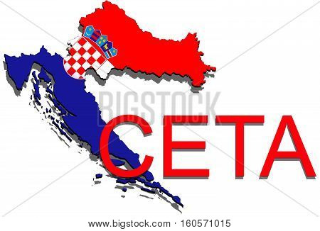 Ceta - Comprehensive Economic And Trade Agreement On White Background, Croatia Map