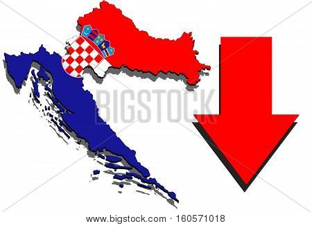 Croatia Map On White Background And Red Arrow Down