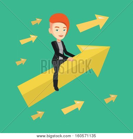 Caucasian business woman sitting on arrow going to success. Successful businesswoman flying up on arrow. Concept of moving forward to business success. Vector flat design illustration. Square layout.