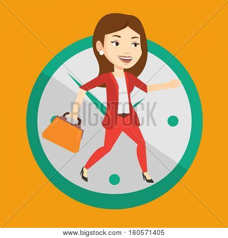 Busy caucasian business woman running on the background with clock. Young busy business woman in a hurry. Concept of deadline and busy time. Vector flat design illustration. Square layout.