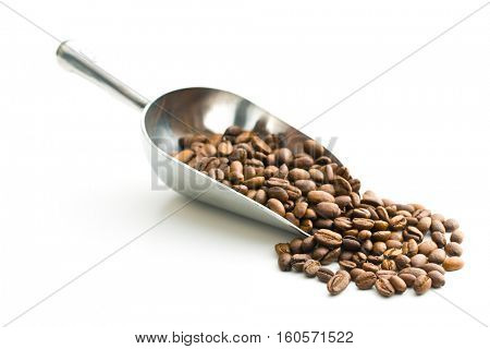 Coffee beans in metal scoop isolated on white background.