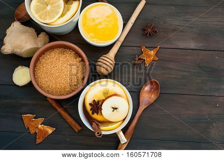 Spiced Tea And Ingredients For Brewing Tea