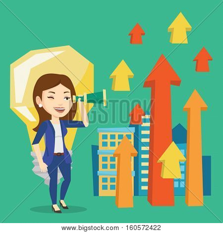 Caucasian business woman looking through spyglass at arrows going up and idea bulb. Business woman looking for creative idea. Business idea concept. Vector flat design illustration. Square layout.
