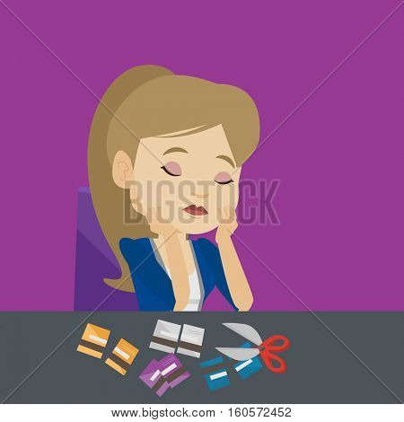 Caucasian business woman cutting credit card. Business woman sitting at the desk with cut credit card. Business woman cutting credit card with scissors. Vector flat design illustration. Square layout.