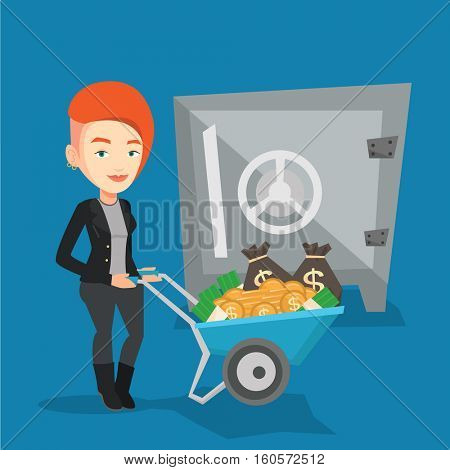 Rich business woman depositing her money in bank in the safe. Cheerful business woman pushing wheelbarrow full of money on the background of big safe. Vector flat design illustration. Square layout.