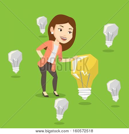 Caucasian business woman having business idea. Young business woman standing among unlit idea light bulbs and looking at the brightest idea light bulb. Vector flat design illustration. Square layout.