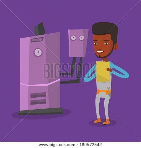 An african-american plumber making some notes in his clipboard. Plumber inspecting heating system in boiler room. Young male plumber in overalls at work. Vector flat design illustration. Square layout