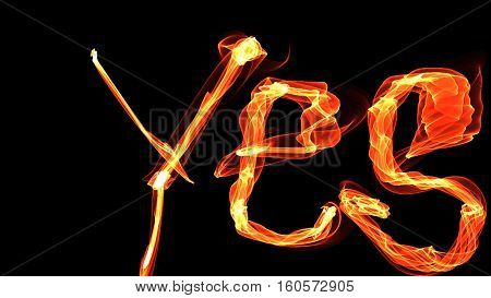 word yes letters fiery bright color, glowing in the dark