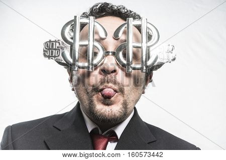 Stubborn, Greed and money, businessman with dollar-shaped glasses, elegant tie suit poster