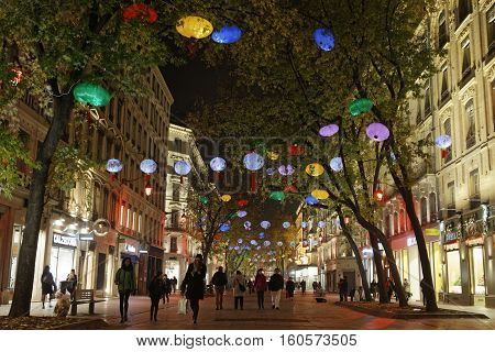 Lyon, France, December 6, 2016 : Lights On Rue De La Republique. The Festival Of Lights (french: Fet