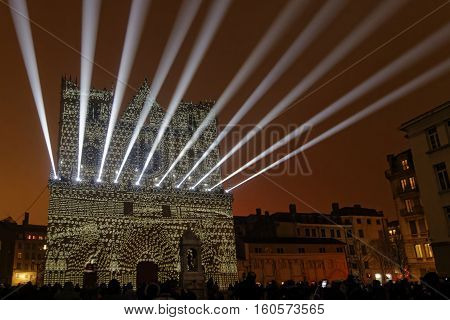 Lyon, France, December 7, 2016 : Lights On The Cathedral Saint-jean. The Festival Of Lights (french: