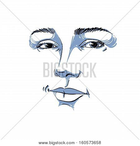 Monochrome Art Vector Portrait Of Flirting Woman, Face Expressions Theme Illustration. Beautiful Sex