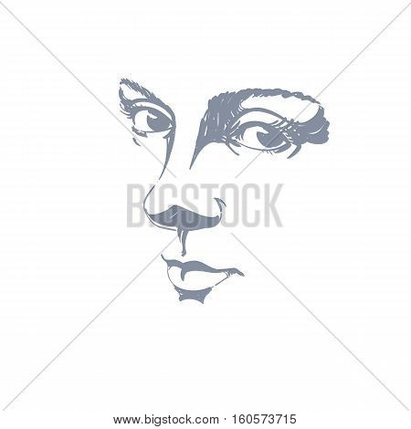 Monochrome Hand-drawn Silhouette Of Melancholic Peaceful Woman Face, Delicate Features. Face Express