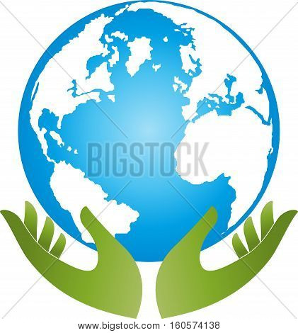 Earth and hands, globe, world globe, vector