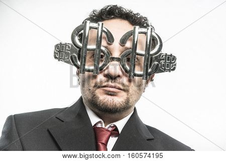 Finance, Greed and money, businessman with dollar-shaped glasses, elegant tie suit