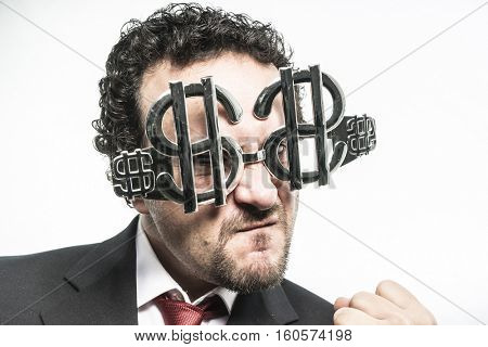 Boss, Greed and money, businessman with dollar-shaped glasses, elegant tie suit