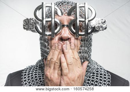 Success Payday, man with medieval chain mail and dollar-shaped glasses