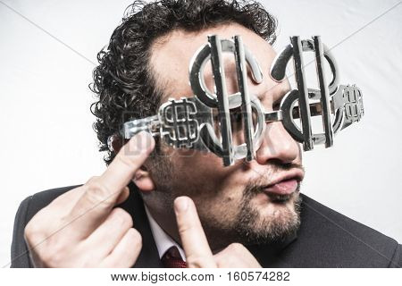 Greed and money, businessman with dollar-shaped glasses, elegant tie suit