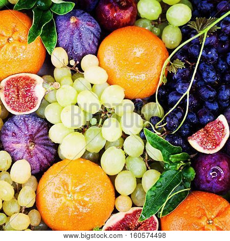 Colorful Summer Fruit Background with Grape Figs and Tangerines. Diet Healthy Eating and Fitness Concept