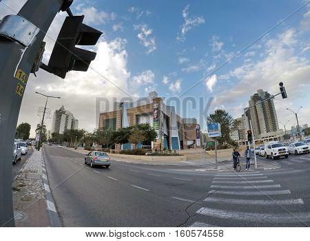 BEER SHEVA ISRAEL - DECEMBER 06 2016: Pedestrian crossing in the central street of the city. Fisheye