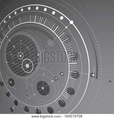 Three-dimensional Mechanical Scheme, Monochrome Vector Engineering Drawing With Circles And Geometri