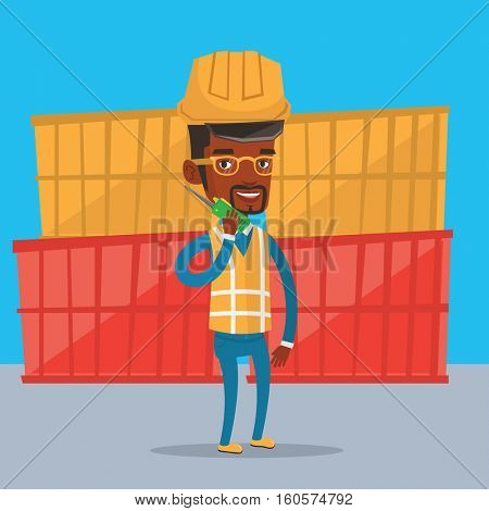 An african port worker in hard hat talking on wireless radio. Port worker standing on cargo containers background. Port worker using wireless radio. Vector flat design illustration. Square layout.