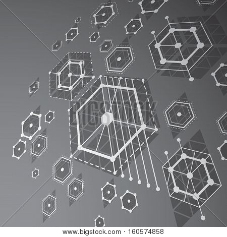 3D Vector Abstract Grayscale Background Created In Bauhaus Retro Style. Dimensional Modern Geometric
