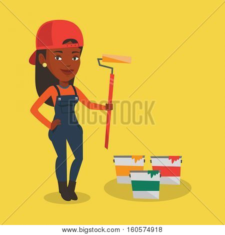 An african-american painter in uniform holding paint roller in hands. Young happy house painter at work. Smiling female painter standing near paint cans. Vector flat design illustration. Square layout