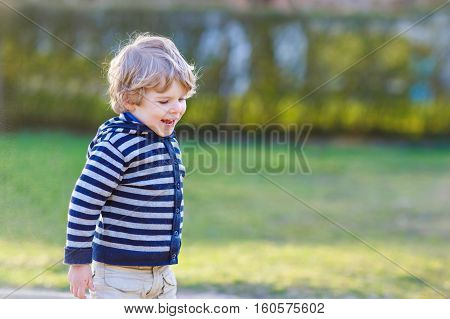 Portrait of toddler boy having fun on outdoor playground. Happy active little kid child playing, swinging, climbing. Leisure for children outside.