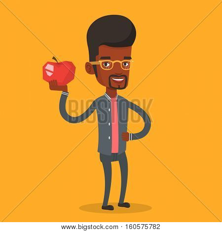 An african-american man holding an apple in hand. Cheerful man eating an apple. Man enjoying fresh healthy red apple. Concept of healthy nutrition. Vector flat design illustration. Square layout.