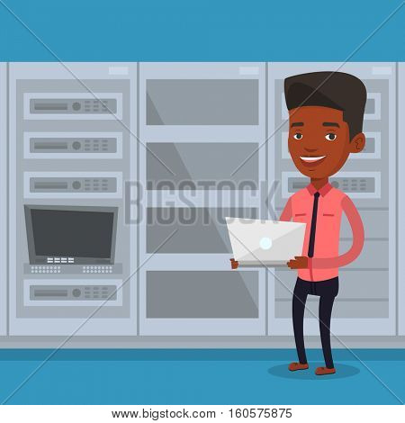 An african engineer with laptop working in network server room. Engineer standing in network server room. Network engineer using laptop in server room. Vector flat design illustration. Square layout.