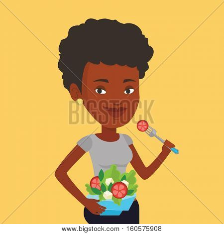 An african-american woman eating healthy vegetable salad. Young woman enjoying fresh vegetable salad. Woman holding fork and bowl with vegetable salad. Vector flat design illustration. Square layout.