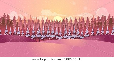 Winter morning landscape with forest and fur-trees.Vector illustration for your design