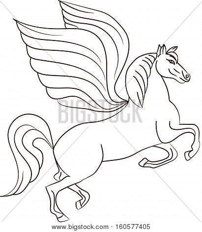 Silhouette of a horse with wings - Pegasus. Vector image
