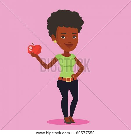 Young woman holding an apple in hand. Woman eating an apple. An african-american woman enjoying fresh healthy red apple. Concept of healthy nutrition. Vector flat design illustration. Square layout.